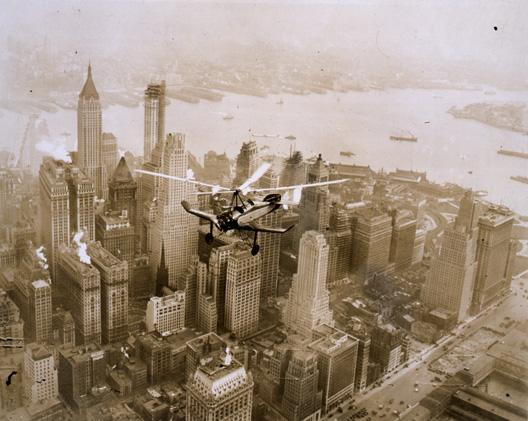 An autogiro flies over Manhattan Island (RAIL 257/76)