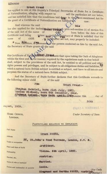Ernst Freud's naturalisation certificate BZ 1216 of 30 August 1939 (HO 334/228/1216)
