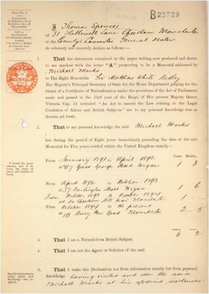Thomas Spencer, residential referee for Michael Mark's naturalisation application, 1897 (HO 144/407/B23729)