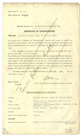 Pte. Charles Apcar killed in action November 1918 before taking the oath of allegiance (HO 334/82/3490)