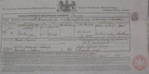 Marriage certificate of Arthur Lasenby Liberty and Martha Cottam 1865 (Ref J 77/61)