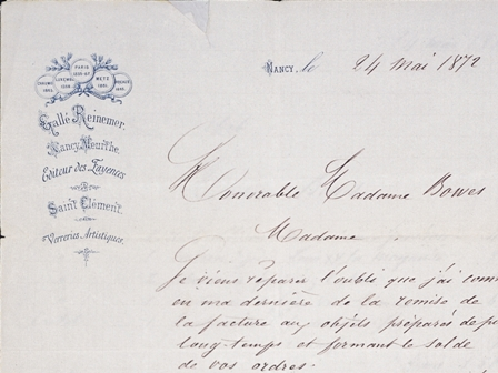 Letter from Emile Galle to his patron Josephine Bowes