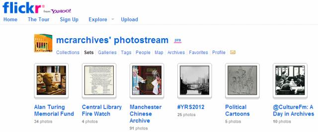 A screengrab of Manchester Archives+' flickr photostream showing six sets