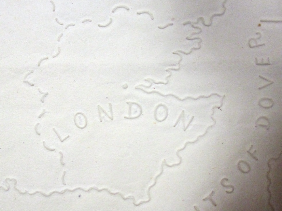 Detail from an embossed 'tactile' map printed at the Glasgow Asylum for the Blind, 1839, showing London (reference: MPI 1/63)