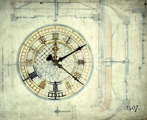 Image of design for Big Ben clock face, incomplete