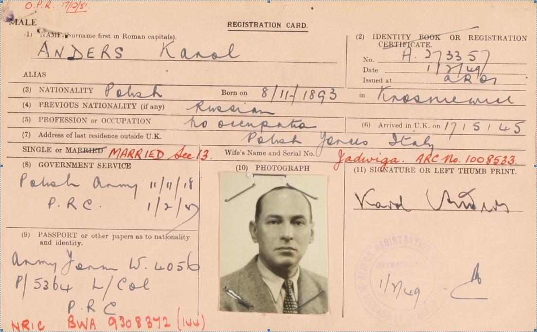 Karol Anders' registration card