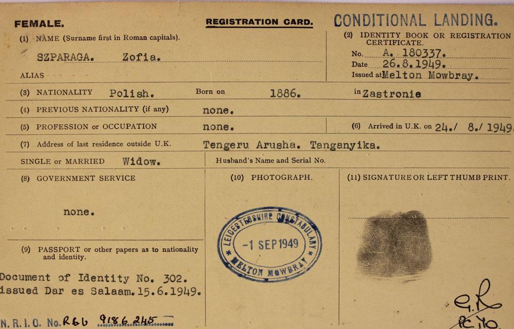 Zofia Sparaga's Alien card - few details missing