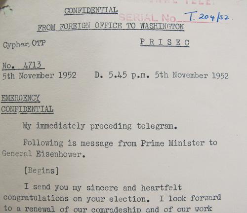 Churchill congratulates Eisenhower in 1952