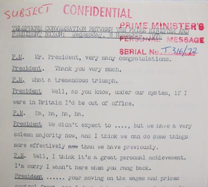 Transcript of Heath and Nixon's telephone call in 1972