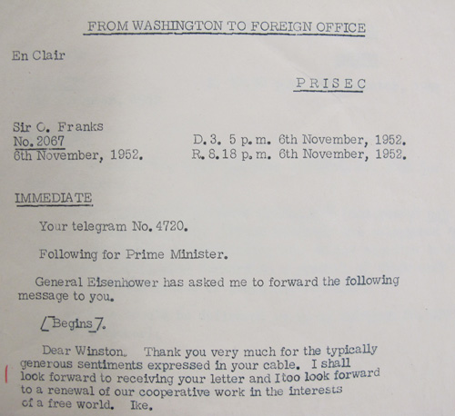 Eisenhower responds (PREM 11/572)