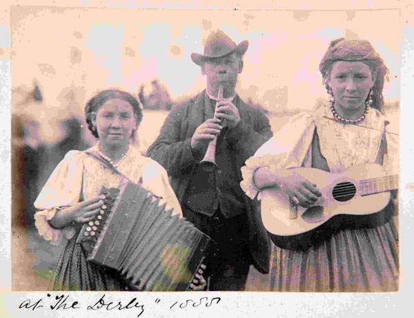 Gypsy musicians at the Epsom Derby in 1888