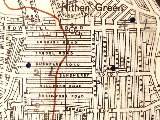 Part of a Bomb Census map (sheet number 56/18 NE) showing South London in January 1943. (Document reference HO 193/31)