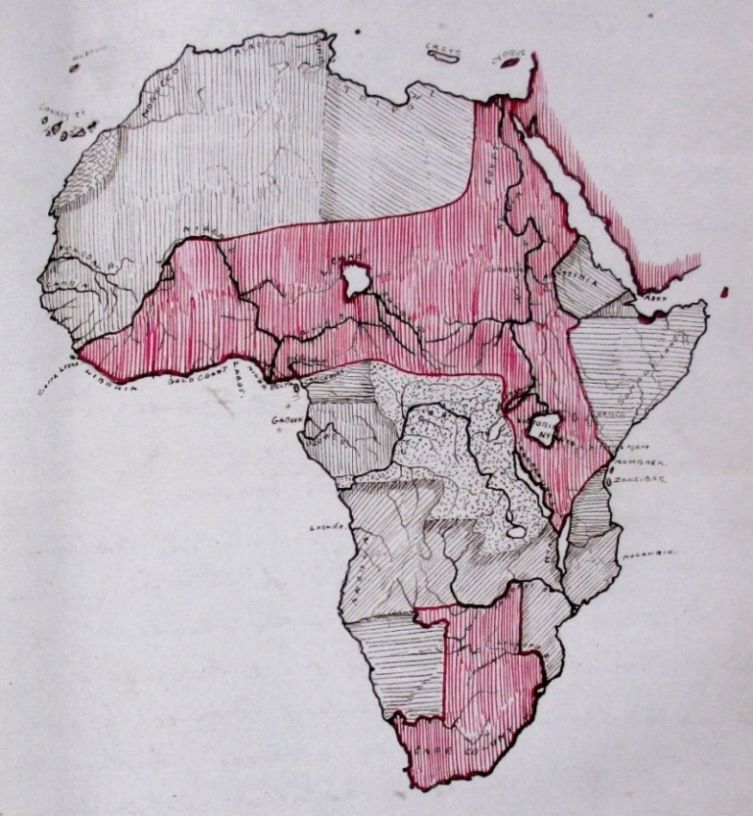 Mr Johnston's 'fantasy' map of Africa, showing his proposed British territorial claims in red (reference: FO 84/1750 f 54)