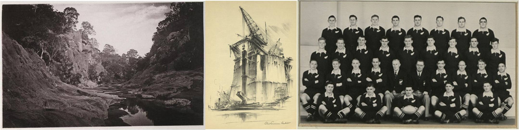 Composite image of Marble Gorge (Clarke River), 'The First Post' Sydney Harbour Bridge, All Blacks 1953-54