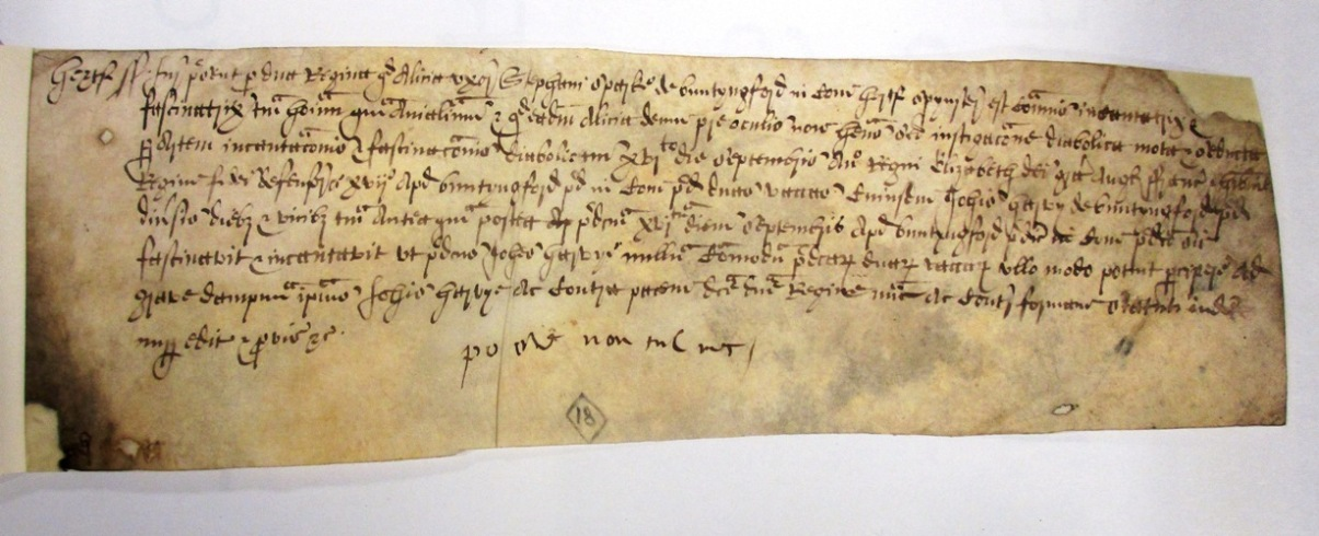 The indictment of Alice Sparke, who was put on trial for witchcraft on 23 March 1576. Document reference: ASSI 35/18/5 m 18.