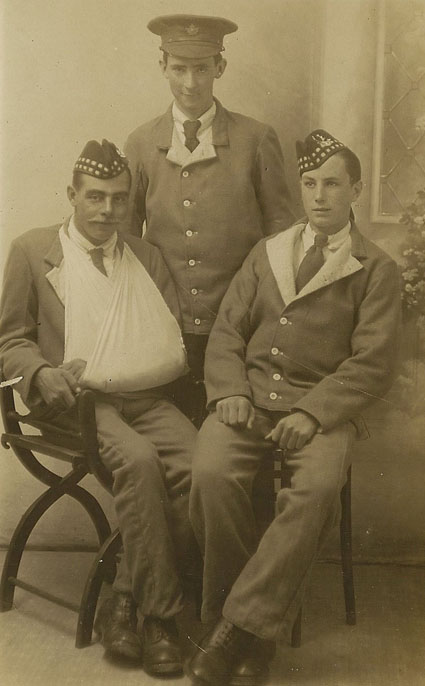 Another photo of Mr Brown taken in 1917 with two other soldiers
