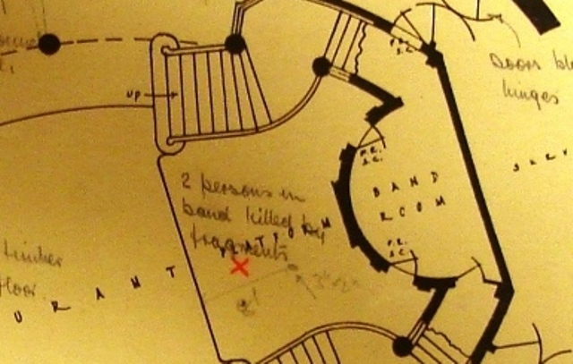 This detail from the plan shows where two members of the band were killed by fragments (reference: HO 193/68).