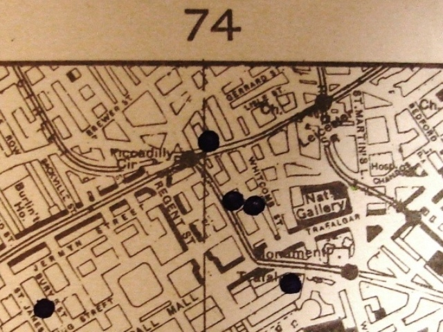 This detail from a Bomb Census map of the area shows bombs that fell during the week of 3-10 March 1941 (reference: HO 193/23, sheet number 56/18 NW).