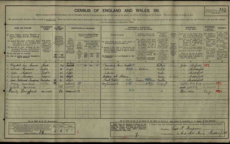 1911 census showing Harry Houdini, catalogue reference: RG 14/26288, Schedule 227
