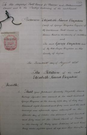 Divorce petition of Elizabeth Laura Boynton in 1858
