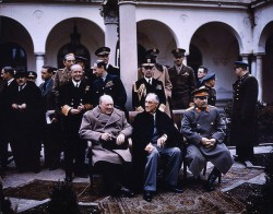 Churchill, Roosevelt and Stalin at the Yalta Conference in February 1945