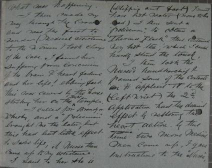 An extract from Dr Vale-Jones' account, 4 June 1913 (catalogue ref: MEPO 2/1551)
