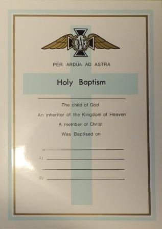 Sample RAF baptism certificate from AIR 82/1