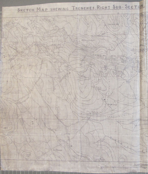 Section of trench map showing the mountainous terrain in Salonika. Ref: WO 153/1213