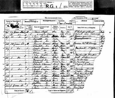 Example of a damaged page from the 1861 census