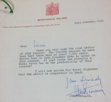 Letter from Buckingham Palace re: food gift parcels