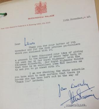 Letter from Buckingham Palace re: Gift Food Parcels