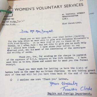 Letter from Women's Voluntary Services