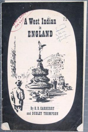 Draft cover page of 'A West Indian in England'