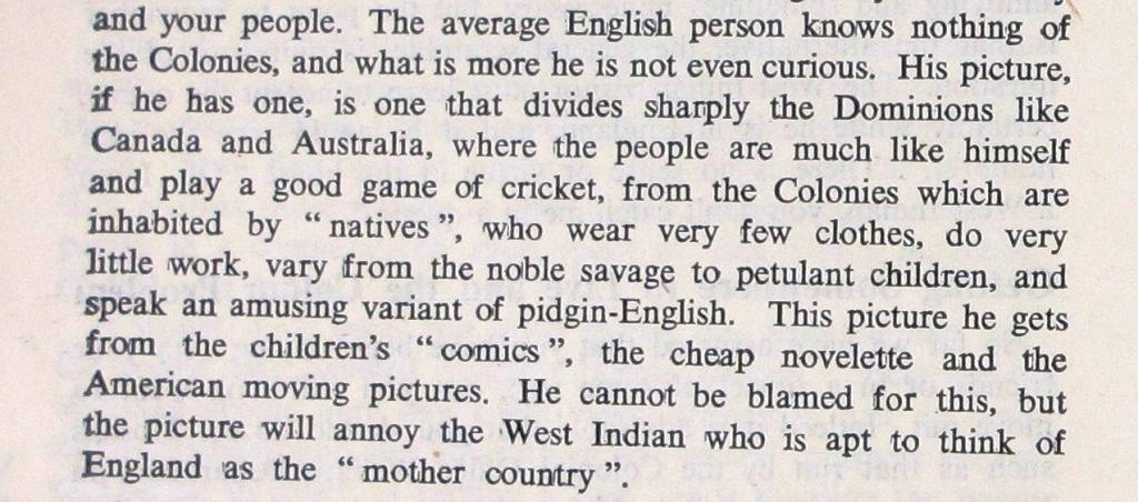 'Getting Somewhere to Live and the Colour Problem' from 'A West Indian in England' pg. 16.