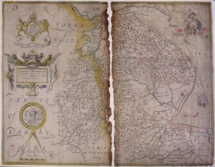 This map of Lincolnshire and Nottinghamshire dates from 1576. Reference: MPC 1/212
