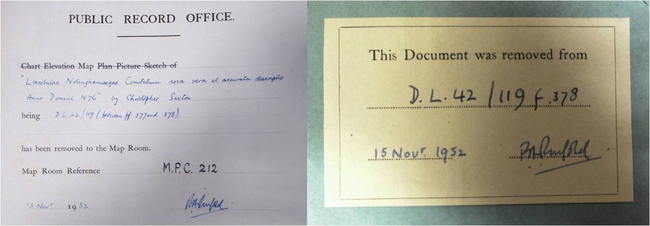 Left: The dummy sheet records where the map used to be stored inside the volume. Reference: DL 42/119 folio 378. Right: This label notes which record the map came from