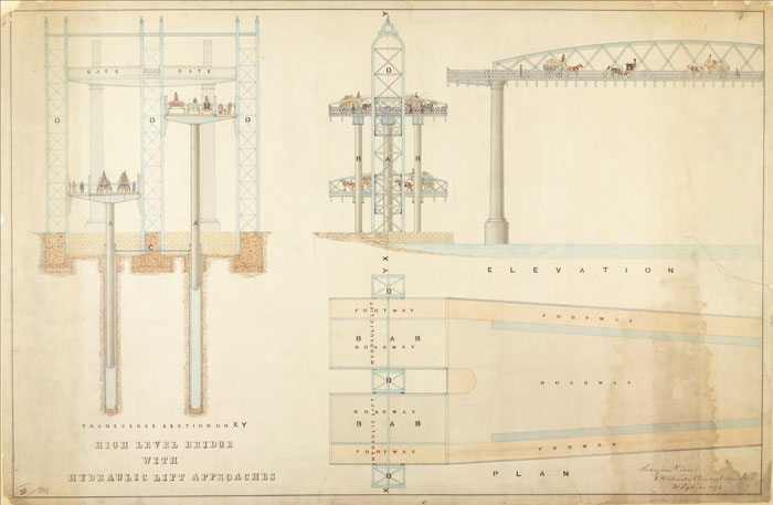 Tower Bridge design (City of London ref: COL/SVD/PL/03/0279) Tower Bridge: Proposals, 1876 (Plan and elevation of a design for a high level bridge at the Tower; Scale 1/240; Unexecuted; T. Claxton Fidler)