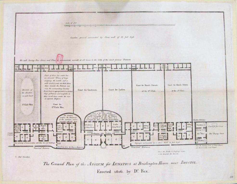 Floorplan showing Brislington House lunatic Asylum from 1806. Details show patients divided by sex and social class.
