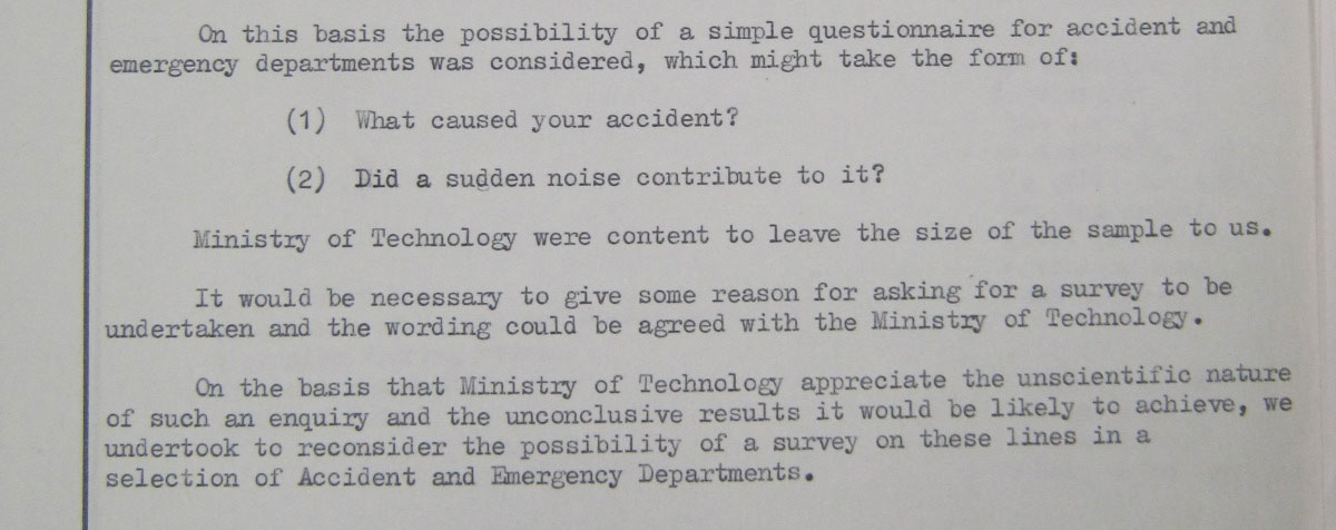 Ministry of Technology request for A&E survey