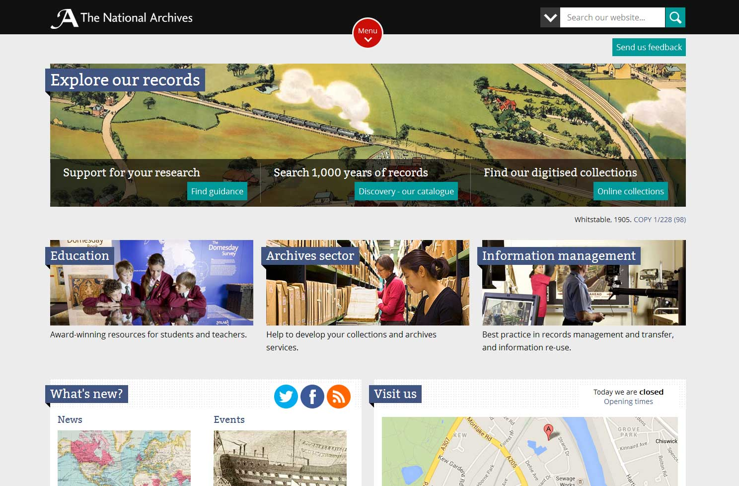 The National Archives' homepage