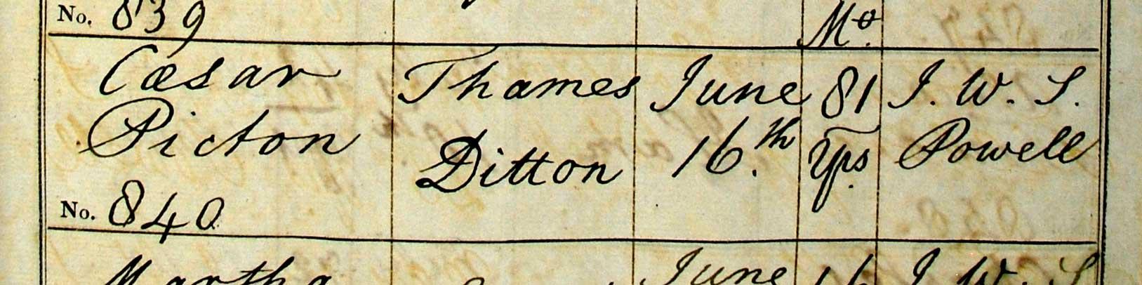 Cesar Picton's entry in the Kingston burial register. SHC REF: P33/1/32