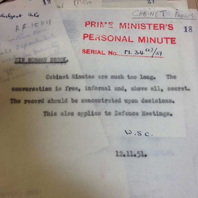 Personal minute from Winston Churchill stating that Cabinet Minutes should focus on decisions (PREM 11/1374)