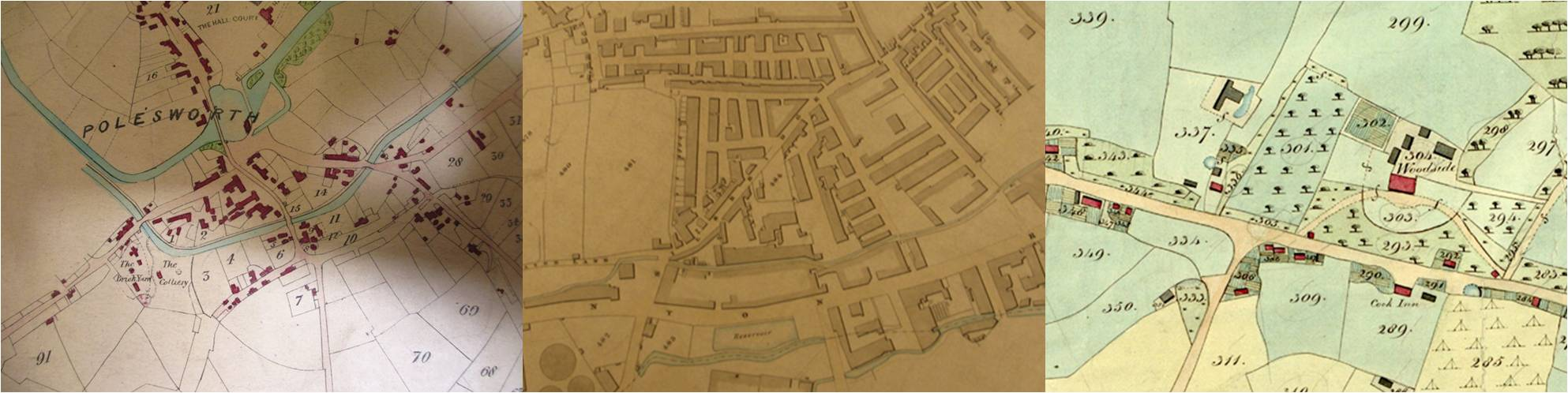 Details from three very different tithe maps. Left: Polesworth, Warwickshire (catalogue reference IR 30/36/114); centre: Bradford, Yorkshire (catalogue reference IR 30/43/60); right: Barnham, Sussex (catalogue reference IR 30/35/20).