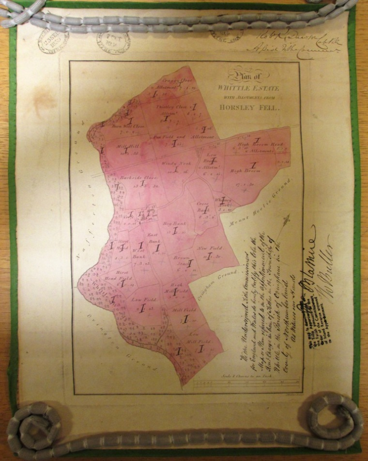 This copy of the estate map was annotated for the Tithe Commissioners in 1839 (catalogue reference IR 30/25/476).