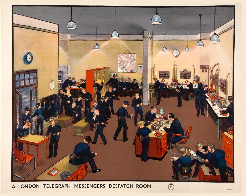 London Telegraph Messenger's Despatch Room Artist Grace Golden, 1939-1945. INF 13/163 (13)