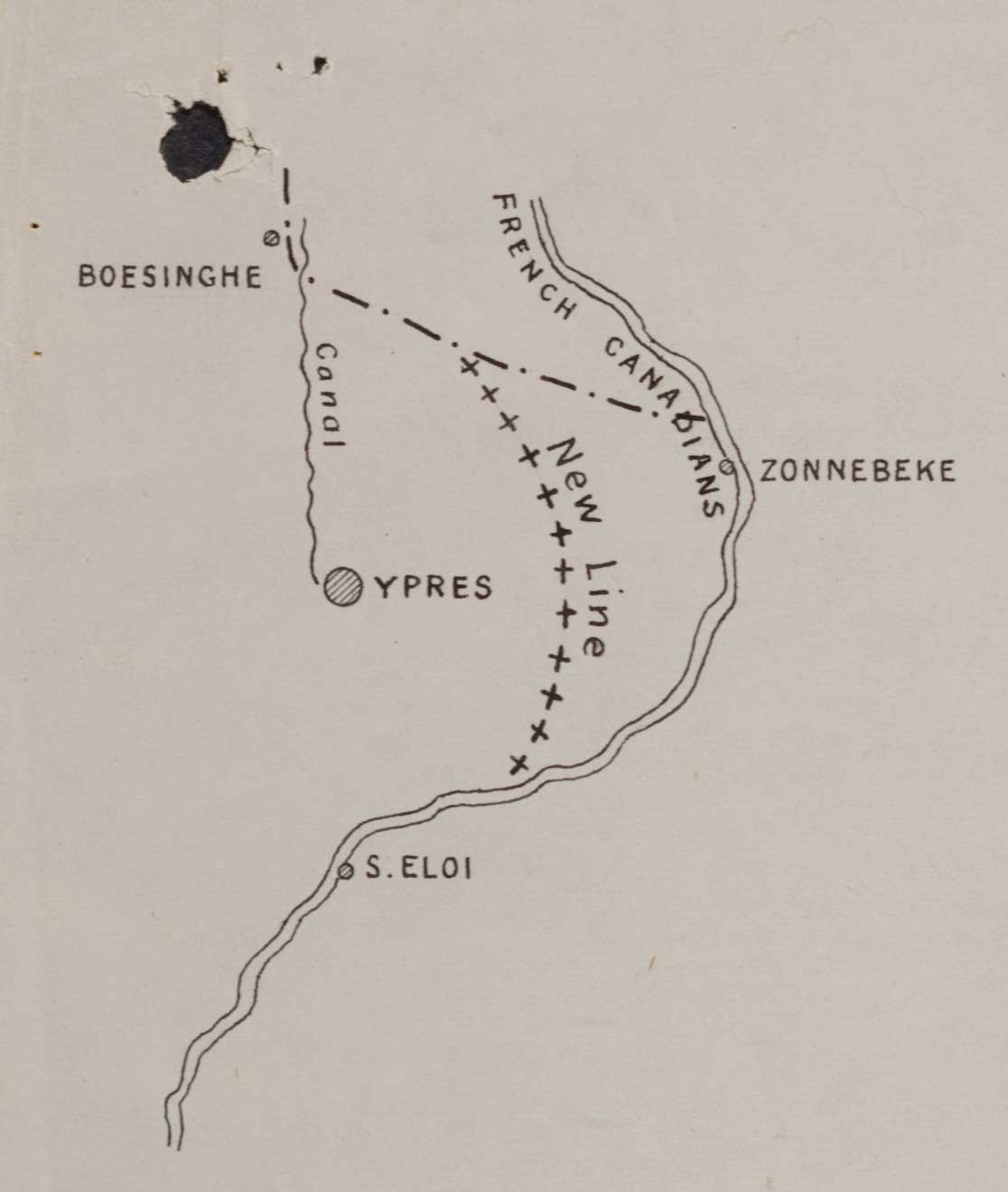 Sketch showing Boesinghe, taken from 1st Battalion Hampshire's War Diary. Catalogue reference W0 95/1495