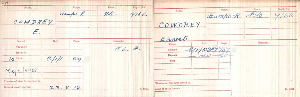 Two medal card indexes for Ernest Cowdrey