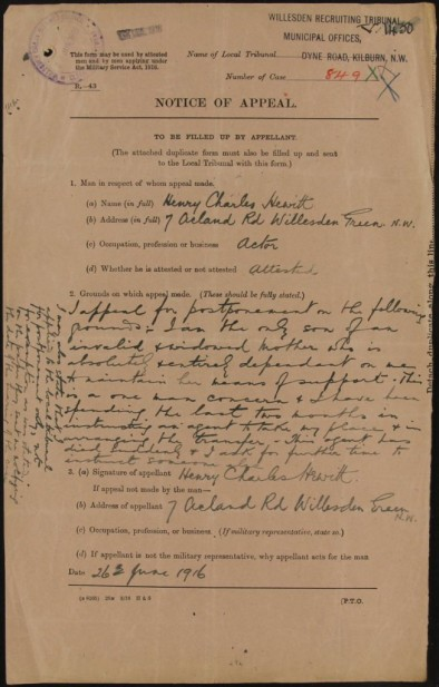 MH 47/80, Henry Charles Hewitt's application for exemption from military service