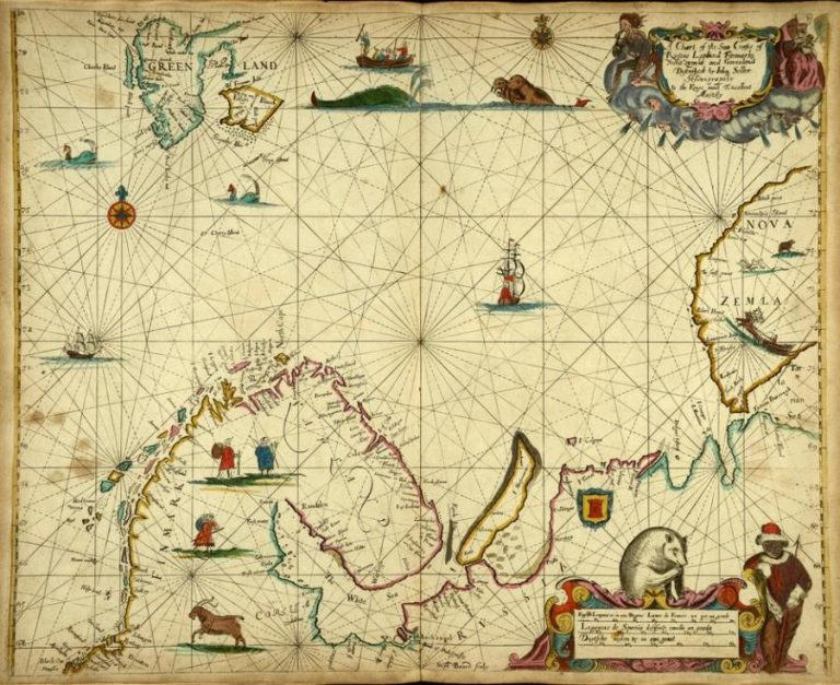Magnificent map: Mr Seller's chart shows the Arctic coasts of Greenland, Scandinavia and western Russia. Catalogue reference: FO 925/4111, f 11