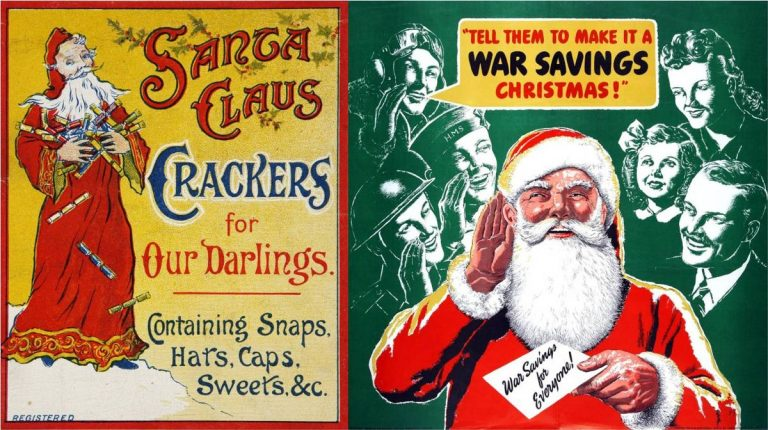 Model behaviour: Advertising Christmas crackers in 1908 (left) and starring in a wartime National Savings campaign in 1943 (right). Catalogue references: COPY 1/268, no 22; NSC 5/114